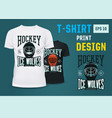 hockey team print on t-shirt for winter sport vector image vector image