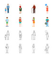 isolated object of character and avatar logo set vector image vector image