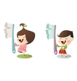 kids with toothbrush vector image vector image
