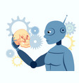 look robot is holding a human skull flat in vector image vector image