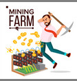 mining farm businessman miner server room vector image