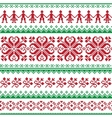 Nordic seamless knitted red and green pattern vector image vector image