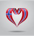 norwegian flag heart-shaped ribbon vector image vector image