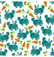 pattern rabbit and carrot vector image vector image