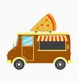 pizza truck fast pizzeria van vector image