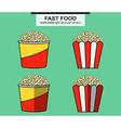 Popcorn set in flat style vector image vector image