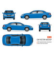 realistic blue sedan car mock-up vector image