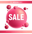 red and purple sale desing with 3d bubbles vector image vector image