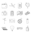 Rest and travel set icons in outline style Big vector image vector image
