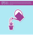 retro purple watering can sprays water drops above vector image vector image