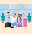 selfie parents with daughter in airport vector image vector image