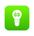 smiling light bulb with eyes icon digital green vector image vector image