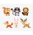 squirrel raccoon beaver fox rabbit and deer icons vector image vector image