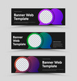 template black horizontal web banners with vector image vector image