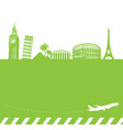 travel background with famous landmarks vector image vector image