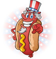 uncle sam hot dog cartoon on july fourth vector image vector image