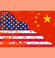 united states of america and china grunge flags vector image