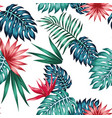 vivid tropical blue green leaves red flowers vector image vector image