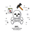 white background with skull and bones in closeup vector image