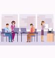 work in office businessmen and businesswomen vector image vector image