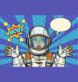 wow pop art woman astronaut vector image vector image