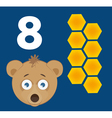 Number 8 - Bear with eight cells of a honey comb vector image
