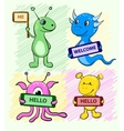 Set of cute cartoon alien monster with a sign in vector image