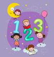 123 numbers with hand-drawn kids vector image vector image
