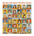 adult people color faces characters set vector image