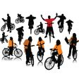 bicycles silhouettes vector image vector image