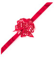 big corner bow made of ribbon with small hearts vector image vector image