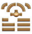 big realistic steampunk copper metal tubes set vector image