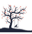 blossoming tree with swing and cat vector image vector image