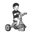 boy tricycle with square wheels sketch vector image