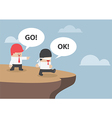 Businessman navigate his Blindfolded friend to the vector image vector image