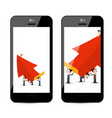 businessmen with big red arrow on smart phone vector image vector image