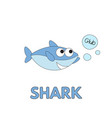 cartoon shark flashcard for children vector image