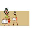 cartoon woman looking back showing blank card vector image vector image