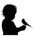 child happy silhouette with sweet bird vector image vector image