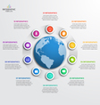 circle infographic template with globe 10 options vector image vector image