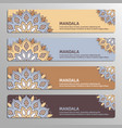 colorful set of ornamental banners with flower vector image vector image