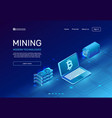 cryptocurrency mining blockchain farms mainframe vector image