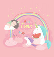 cute cartoon girl with unicorns vector image vector image