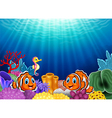 Cute clown fish and Seahorse in beautiful vector image vector image