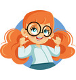 cute girl wearing braces cartoon character vector image