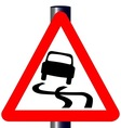 Danger SkiddingTraffic Sign vector image vector image