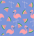 flamingo set seamless pattern flat design exotic vector image vector image