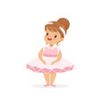 flat of cheerful little girl in pink vector image vector image