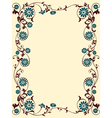 floral frame blue brown vector image