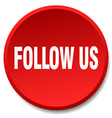 follow us red round flat isolated push button vector image vector image